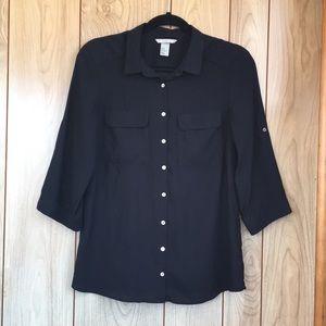 H&M Black Button Down Blouse